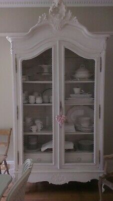 Vintage French Louis XV handpainted linen press / armoire
