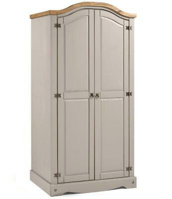 Corona Grey Wardrobe 2 Door Arch Top Wax Solid Pine Bedroom Mercers Furniture®