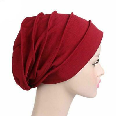 Women Indian Stretchy Cotton Chemo Pleated Turban Hat Cap Wrap Nice Hijab H A1O4