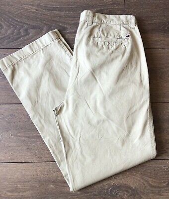 TOMMY HILFIGER Chino Chinos Trousers Beige with Flag Logo 33W 32L