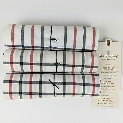 (3) Hearth and Hand Magnolia FLOUR SACK Kitchen Towels Plaid Red/White/Blue