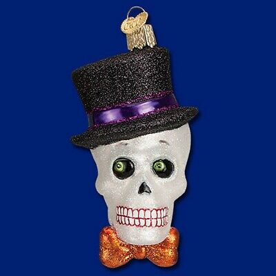 Old World Christmas HALLOWEEN Top Hat SKELETON Ornament Handblown GLASS OWC
