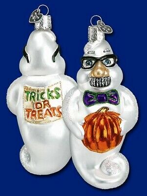 Old World Christmas HALLOWEEN Grouchy GHOST Ornament Handblown GLASS OWC Trick