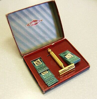 Vintage Gold 1940's Gillette Tech DE Safety Razor in Eagle Presentation Box