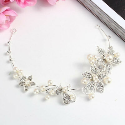 Women Chic Crystal Faux Pearl Bridal Tiara Wedding Hair Crown Headband CB