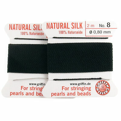Griffin Silk Thread Two Pack | Black Size 8 | Beading Cord + Needles