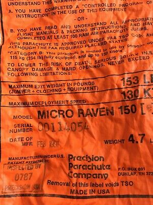Micro Raven 150, manufactured February 1991, purple canopy, soft links.