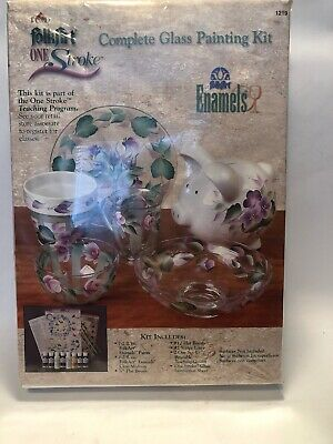 Folk Art One Stroke Complete Glass Painting Kit Enamels NEW FACTORY SEALED
