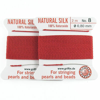 Griffin Silk Thread Two Pack   Red Size 8   Beading Cord + Needles