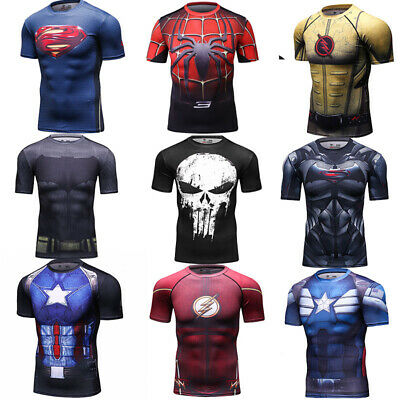 Men's Marvel Superhero T Shirts Workout Sports Compression Tops Cosplay Clothing