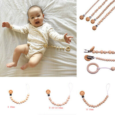 Wood Beaded Pacifier Clip Baby Kids Dummy Chain Nipple Holder Soother Teether ED