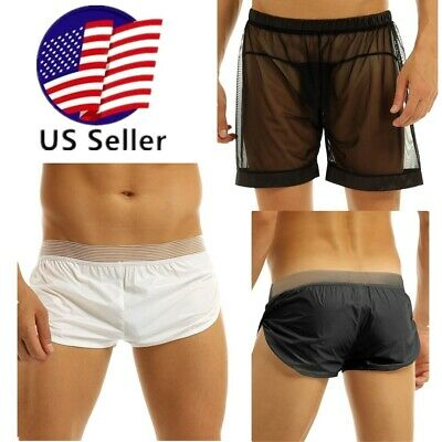 Sexy Men Boxer Briefs Swim Shorts Trunks See-through Mesh Sheer Loose Underpants