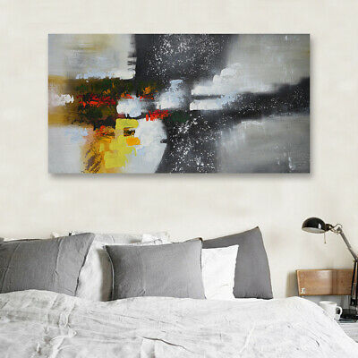 Modern Abstract Oil Painting On Canvas Huge Stretched House Decor With Frame AU