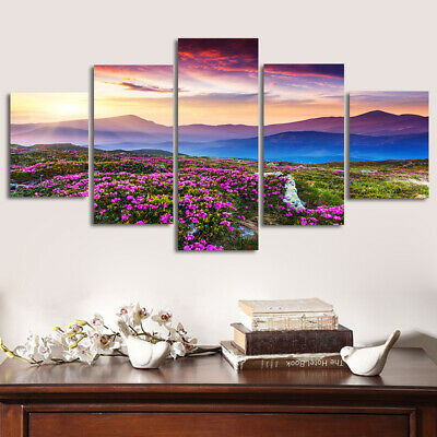 UK Modern Print Flowers Art Oil Canvas Painting Picture Home Wall Decor Unframed