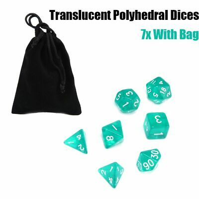 Lots 7 Piece Polyhedral Drop Set Cloud Translucent Teal RPG DnD With Dice Bag US