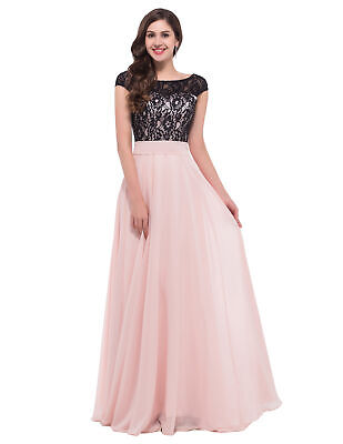 Pink Formal Long Chiffon Women Lace Dress Prom Evening Party Cocktail Bridesmaid