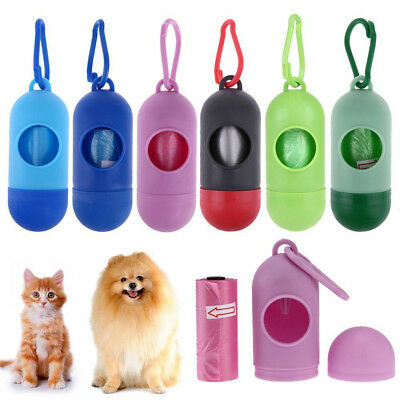 Dog Pet Portable Garbage Clean Up Waste Carrier Holder Dispenser+Poop Bags Set J