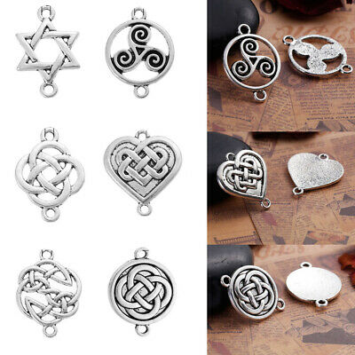 Ancient Silver Celtic Knot Heart Round Connector Charms Pendant Jewelry Findings