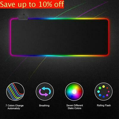 Large Extended RGB LED Luminous Gaming Keyboard Mouse Pad Mat For PC Laptop