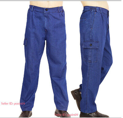 Mens Casual Overalls Denim Cargo Work Pants Multi-pocket Workwear Jeans Trousers