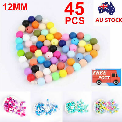 45X Silicone Beads Baby Teether Teething Toy Chewing Bead Pacifier Chain DIY