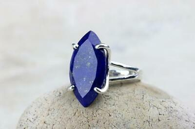 925 Sterling Silver Certified Handmade Lapis Lazuli stone Cluster Ring For Ring