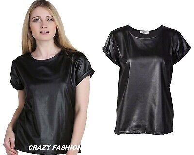 Women Ladies PU PVC Wet Leather Look Bodycon Dress Tunic Top Skirt Leggings 8-26