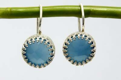 Antique 925 Solid Sterling Silver Handmade Blue Onyx Earrings For Your Beloved