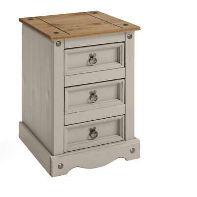 Corona Bedside 3 Drawer Grey Wax Large Bedside Solid Pine by Mercers Furniture®