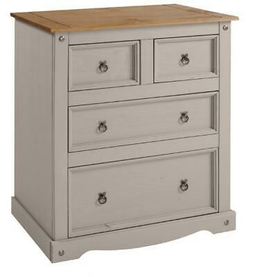 Corona Chest 2+2 Drawer Chest Grey Wax Solid Pine by Mercers Furniture®