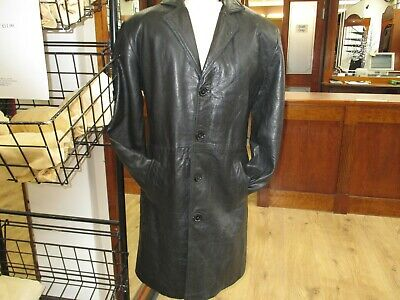 MENS GENUINE GORGEOUS SOFT BLACK LEATHER 3/4 Coat 1469 SIZE S & XXL £45 FREE P