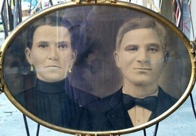 Victorian 1900's Charcoal HUSBAND + WIFE 24 x 18 Portrait Oval Brass Frame