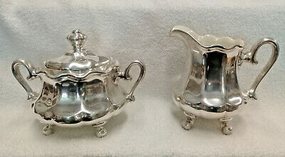 Heavy Art Nouveau WMF Silver Plate Porcelain Lined Sugar Bowl and Creamer