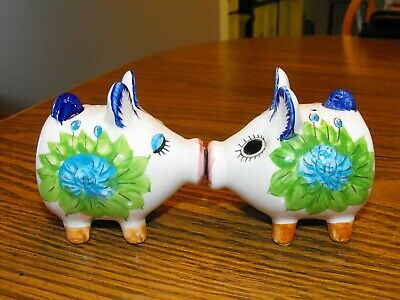 Vintage Japan Kissing Pigs Salt and Pepper Shakers