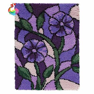Floral Lilac Purple Flowers Latch Hook Rug Kit, Brand New