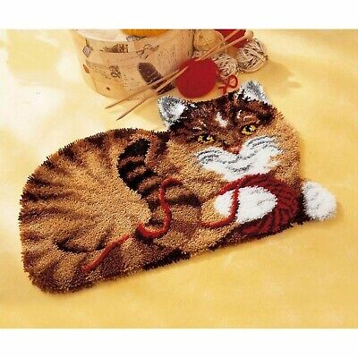 PLAYFUL TABBY CAT LATCH HOOK RUG KIT from UK Seller, BRAND NEW