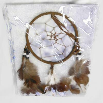 Brown n White Native American Dreamcatcher Dream Catcher Circular Net w Feathers