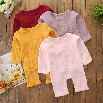 Newborn Kids Baby Girls Boy Outfit Clothes Long Sleeve Solid Romper Bodysuit LT