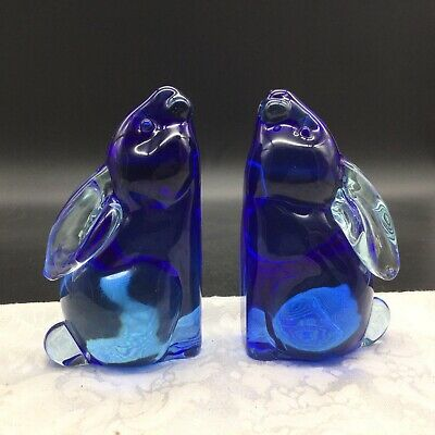2 Murano Vintage Cobalt Blue Clear Art Glass Bunny Rabbit Animal Bookend Figures
