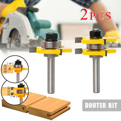 """2x Tongue and Groove Router Bit Set 1/4"""" x1/2"""" Shank T-type3-tooth Useful Cutter"""