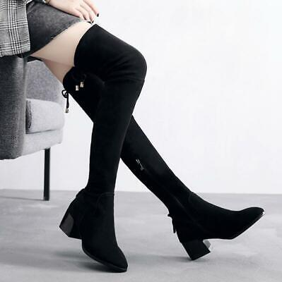 Sexy Womens Over The Knee Thigh High Boots Ladies Block Chunky Heels Faux Suede