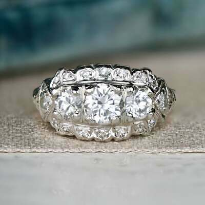 Vintage Art Deco Retro Fine Engagement Ring 925 Sterling Silver 4Ct Diamond Ring