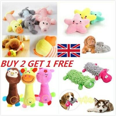 Funny Soft Pet Puppy Chew Play Squeaker Squeaky Cute Plush Sound Dog Toys UK #