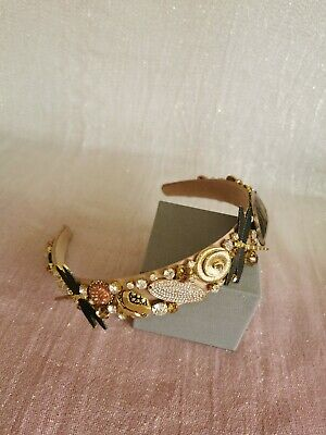 Diamante Pearl Jewelled Embellished Pretty Headband Hairband Crown gold tan nude