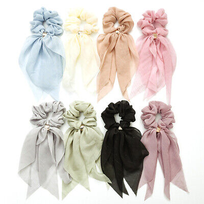 Double Layer Bow Women Long Ribbon Scrunchie Hair Scarf Rubber Band Hair Tie