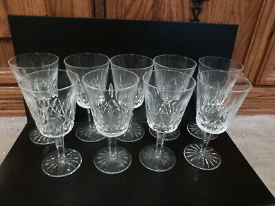 "9 Waterford Crystal LISMORE Tall Water Glass Goblets Ireland 6.9""Tx3.38""D 10 oz"