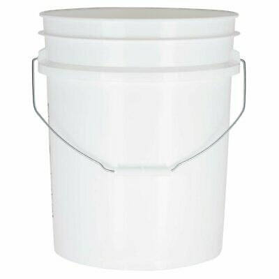 White 5 Gallon Food Grade Bucket - 90 Mil Heavy Duty Plastic Pail with Metal