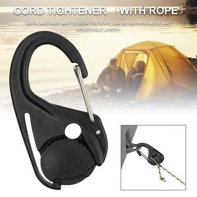 2PCS Cord Tightener Lightweight Plastic Tie Hook With Carabiner Clip And Cord