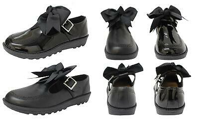 New Girls Back To School Bow Black Patent Pu Ankle Strap Mary Jane Flat Shoes