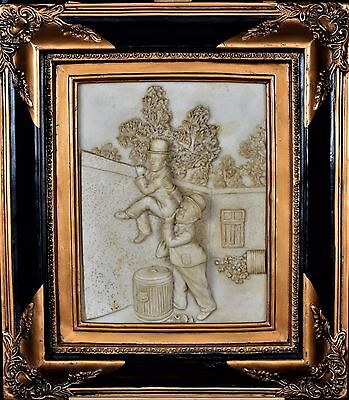 Relief Old Picture Soapstone Gold Frame Baroque Frame Figure